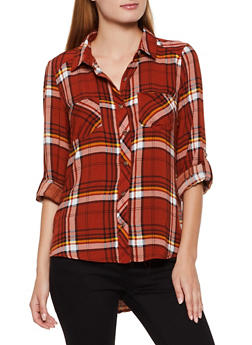 High Low Plaid Button Front Shirt - 3001051068391