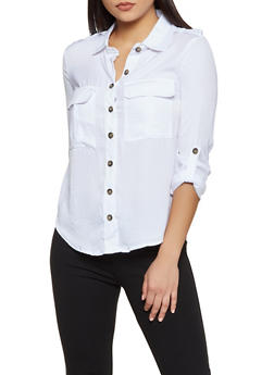 Tabbed Long Sleeve Button Front Shirt - 3001051068590
