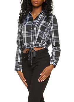 Plaid Button Front Shirt - 3001051069848