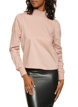 Ruched Sleeve Mock Neck Top - 3001051069968