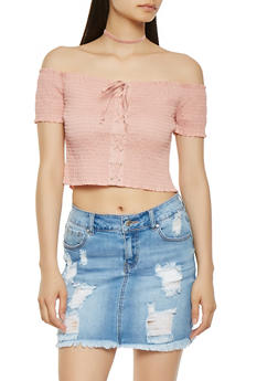 Smocked Off the Shoulder Crop Top - 3001054260414