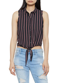 Striped Sleeveless Tie Front Shirt - 3001054260456