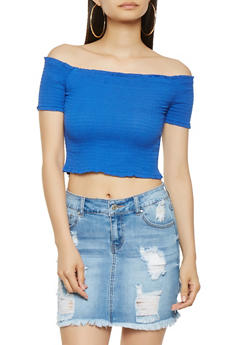 Smocked Off the Shoulder Crop Top - RYL BLUE - 3001054260478