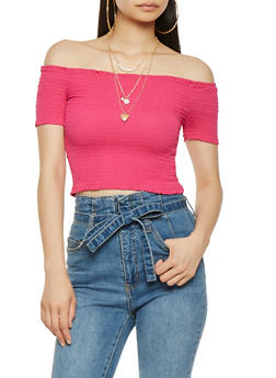 Smocked Off the Shoulder Crop Top - 3001054260478