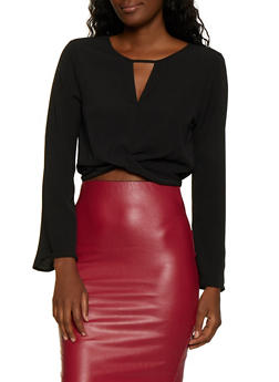 Crepe Knit Twist Front Crop Top - 3001054261111
