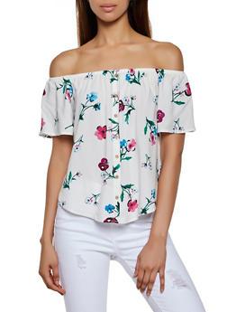 Button Floral Off the Shoulder Top - 3001054261148