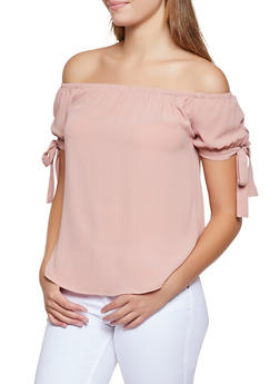 Crepe Tie Sleeve Off the Shoulder Top - 3001054261151