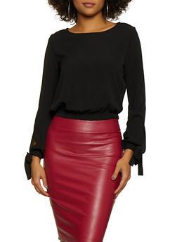 Crepe Knit Tie Sleeve Blouse - 3001054261211