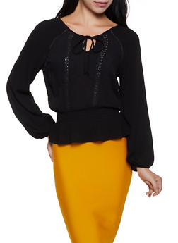 Gauze Knit Ruffle Hem Top - 3001054261284