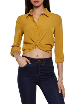 Crepe Knit Twist Button Front Shirt - 3001054261340