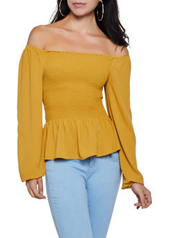 Smocked Off the Shoulder Peplum Top | 3001054261378 - 3001054261378