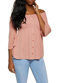 Smocked Off the Shoulder Bell Sleeve Top - 3001054261390