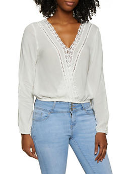 Crochet Trim Faux Wrap Top - 3001054261610