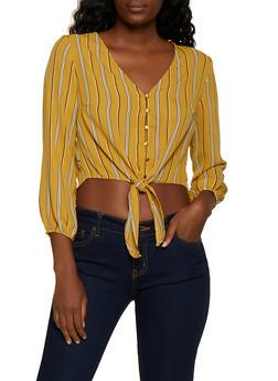 Striped Button Tie Front Crop Top - 3001054261636