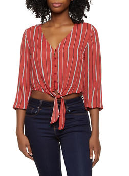 Striped Button Tie Front Crop Top - 3001054261636