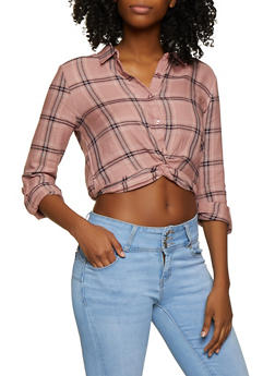 Plaid Twist Button Front Shirt - 3001054261705