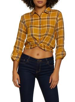 Plaid Twist Button Front Shirt - 3001054261705