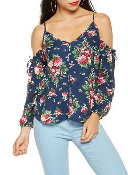 Floral Cold Shoulder Top - 3001054264861