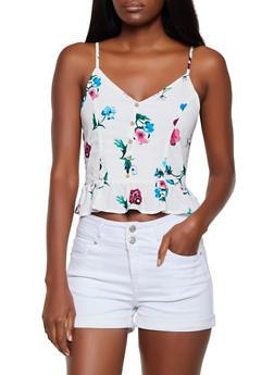 Floral Button Detail Peplum Top - 3001054265943