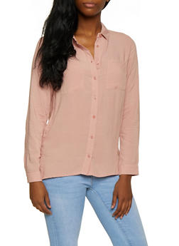 Solid Button Front Shirt - 3001054268823