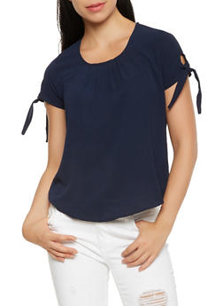 Crepe Knit Tie Sleeve Top - 3001058750052