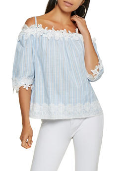 Crochet Trim Striped Off the Shoulder Top - 3001058750341
