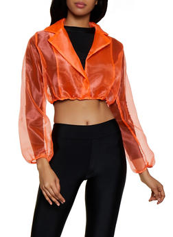 Organza Faux Wrap Crop Top - 3001058750773