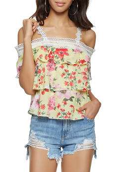 Ruffled Off the Shoulder Floral Top - 3001058750816