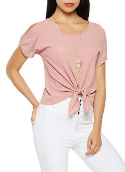 Split Sleeve Tie Front Blouse - 3001058750892