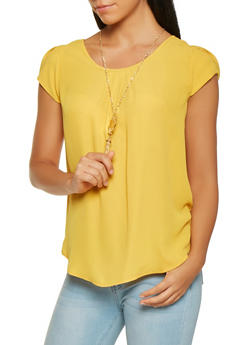 Cap Sleeve Blouse with Necklace - 3001058750894