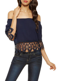 Crochet Trim Off the Shoulder Top - 3001058750902