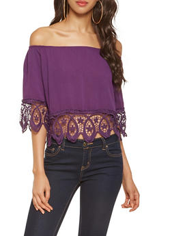 Crochet Trim Off the Shoulder Top - 3001058750902
