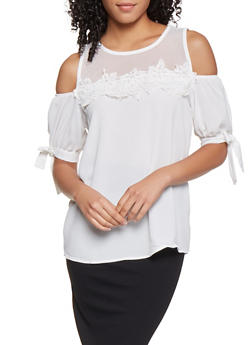 Mesh Yoke Cold Shoulder Top - 3001058750903