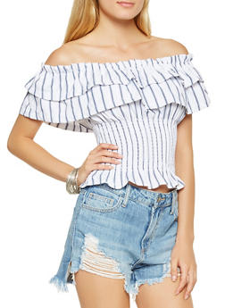 Striped Off the Shoulder Tiered Top - 3001058750906