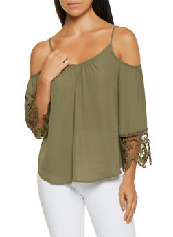 Crochet Trim Cold Shoulder Top - 3001058751040