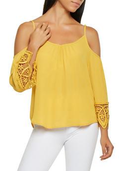 Crochet Trim Cold Shoulder Top - 3001058751040