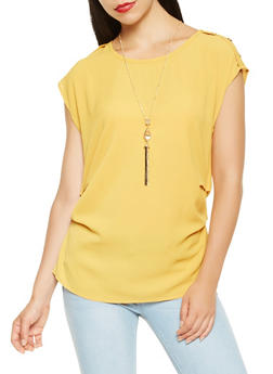 Ruched Crepe Knit Top with Necklace - 3001058751041