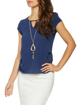 Crepe Knit Blouse with Necklace - 3001058751042