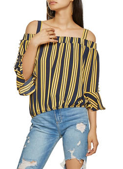 Faux Pearl Studded Striped Off the Shoulder Top - 3001058751130