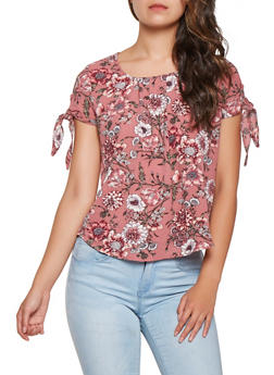 Floral Tie Sleeve Blouse - 3001058751133