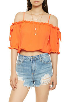 Ruffle Trim Off the Shoulder Crop Top - 3001058751170