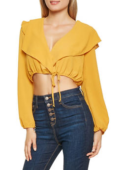 Faux Wrap Crop Top - 3001058751232