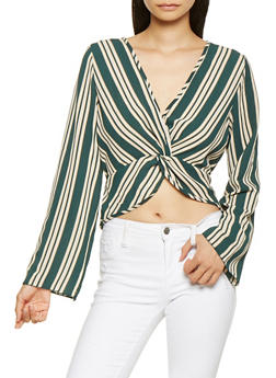 Striped Twist Front Top - 3001058751234