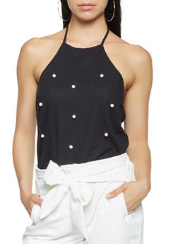 Faux Pearl Studded Halter Top - 3001058751314