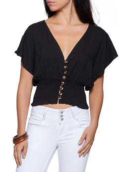 Smocked Waist Button Front Top - 3001058751564