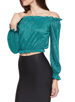 e727db5e8cafd Shimmer Knit Off the Shoulder Crop Top - 3001058751829