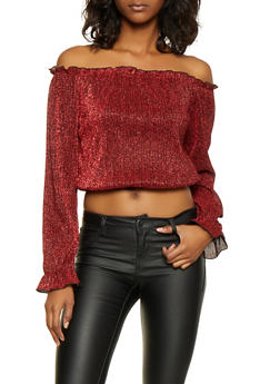 Shimmer Knit Off the Shoulder Top - 3001058751829