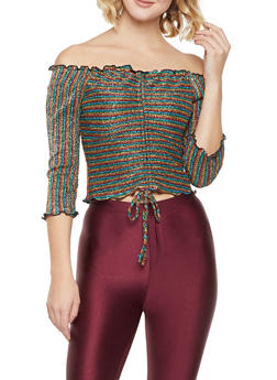 Striped Shimmer Knit Off the Shoulder Top - 3001058751836
