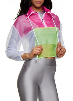 Organza Color Block Pull Over Windbreaker - 3001058751846
