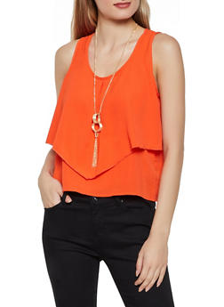 Ruffled Crepe Knit Tank Top with Necklace - 3001058751947